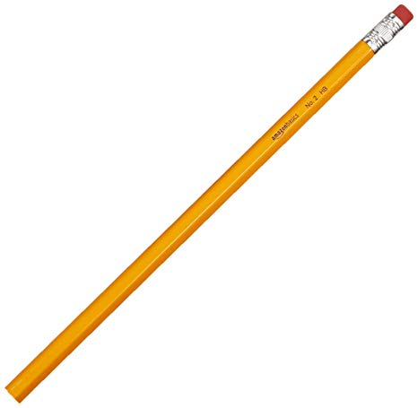 A long skinny yellow unsharpened number 2 pencil with a red eraser